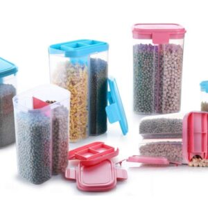2 Sections Air Tight Transparent Plastic Storage Container for Kitchen