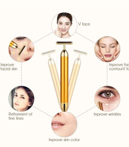T-Shape Electric Face Massager Tools for Sensitive Skin, 24k Golden Pulse Facial Massager