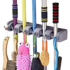 5 Slot Position Wall Mounted Mop and Broom Holder
