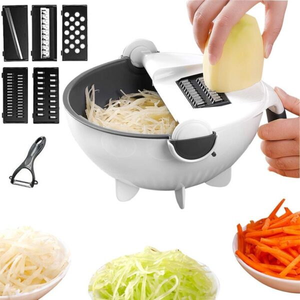 Vegetable Cutter with Drain Basket 9 in 1 Slicer