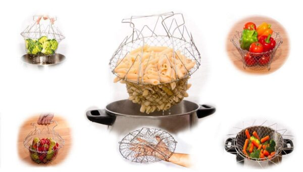 Stainless Steel Foldable Steam Rinse Chef Basket
