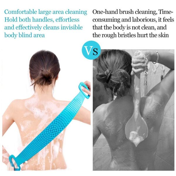 Silicone Body Scrubber Belt, Double Side Shower Exfoliating Belt