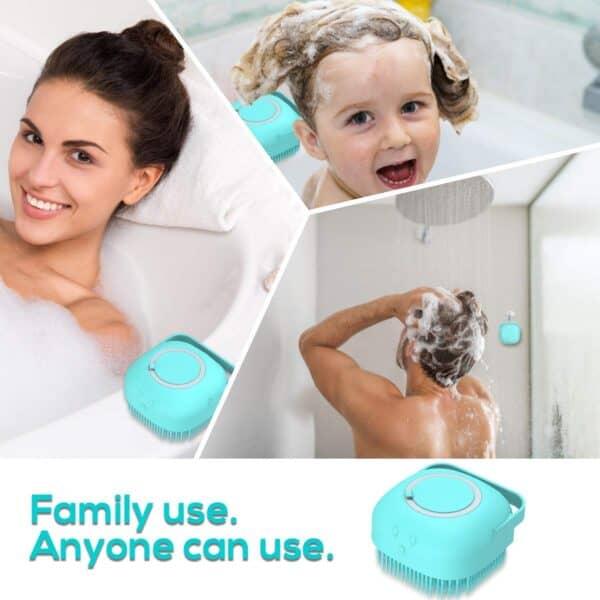 2 IN 1 Soft Body Shower Scrubber with Shower Gel Dispenser