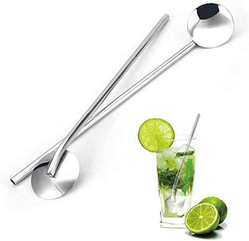 Set of 4 Portable Stainless Steel Drinking Spoon Straw
